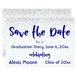 Save the date graduation invitations announcements zazzle silver confetti navy typography save the date 2b card filmwisefo Gallery