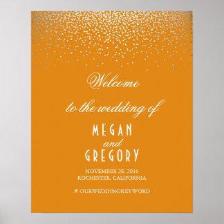 Silver Confetti Orange Wedding Welcome Sign