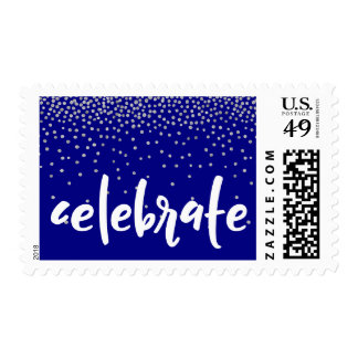 Silver Confetti Over Navy, Celebrate Typography Postage