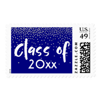 "Silver Confetti Over Navy ""Class of"" Typography Postage"