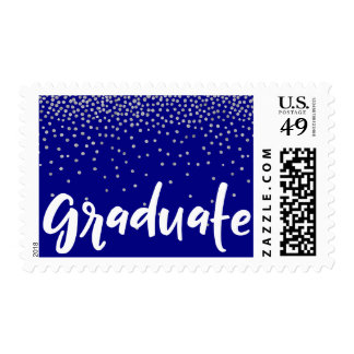 "Silver Confetti Over Navy, ""Graduate"" Typography Postage"