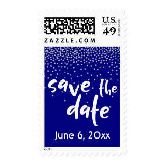 Silver Confetti Over Navy, Modern Save the Date Postage