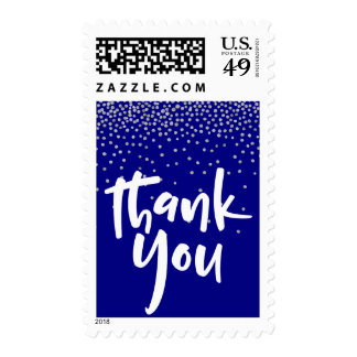 Silver Confetti Over Navy, Thank You 1 Typography Postage