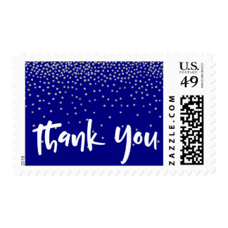 Silver Confetti Over Navy, Thank You 2Typography Postage