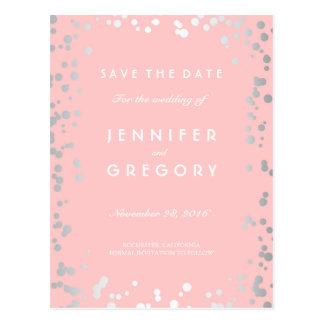 Silver Confetti Pink Elegant Save the Date Postcard