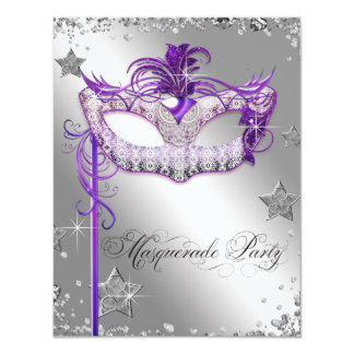 Silver Confetti Purple Masquerade Party Card