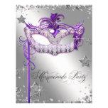 Silver Confetti Purple Masquerade Party Personalized Announcements