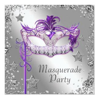 Silver Confetti Purple Masquerade Party Invitation