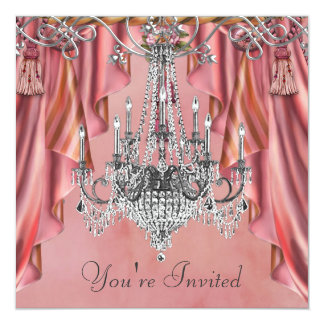 Silver Coral Pink Chandelier Party Card