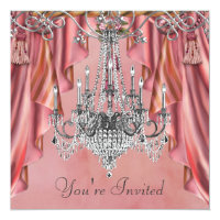 Silver Coral Pink Chandelier Party Invitation