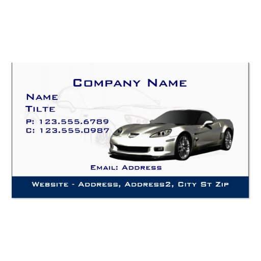 Silver Corvette Business cards