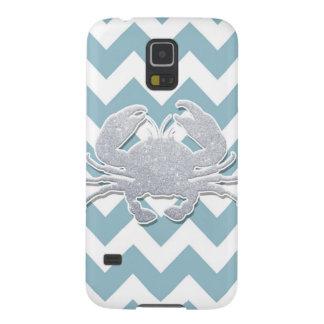 Silver Crab Silhouette, Blue Chevron Pattern Galaxy S5 Case