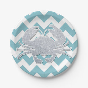 Silver Crab Silhouette Blue Chevron Pattern Paper Plate  sc 1 st  Zazzle & Silver Chevron Plates | Zazzle
