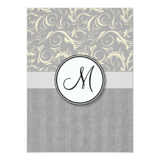 Silver Cream Floral Wisps & Stripes with Monogram Card