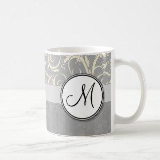 Silver Cream Floral Wisps & Stripes with Monogram Coffee Mug