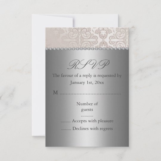 wedding invitations with rsvp silver rsvp card zazzle 9778