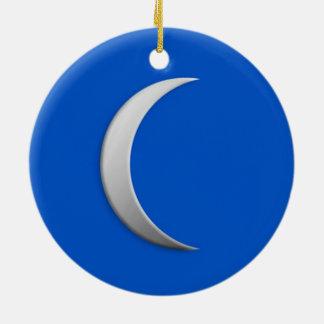 Silver crescent moon - cobalt blue background ceramic ornament
