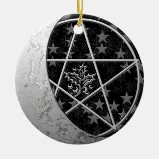 Silver Crescent Moon & Pentacle #1 Ceramic Ornament