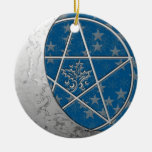 Silver Crescent Moon & Pentacle #2 Ornaments