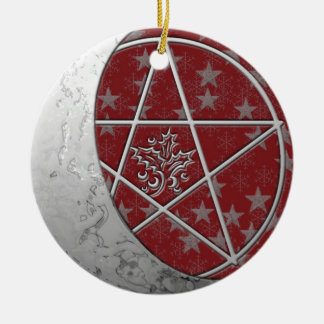 Silver Crescent Moon & Pentacle #3 Ceramic Ornament