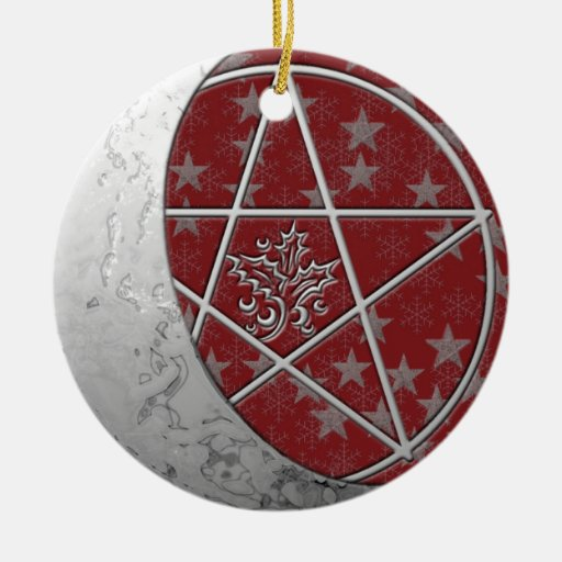 Silver Crescent Moon & Pentacle #3 Christmas Ornaments