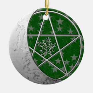 Silver Crescent Moon & Pentacle #4 Ceramic Ornament