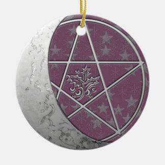Silver Crescent Moon & Pentacle #5 Ceramic Ornament