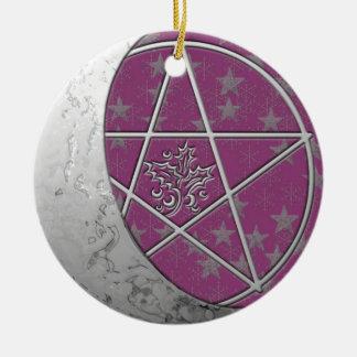 Silver Crescent Moon & Pentacle #6 Ceramic Ornament
