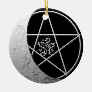 Silver Crescent Moon & Pentacle #7 Ceramic Ornament