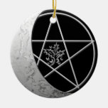 Silver Crescent Moon & Pentacle #7 Double-Sided Ceramic Round Christmas Ornament