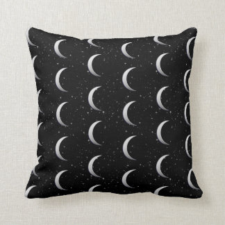 Silver crescent moons - starry background pillow