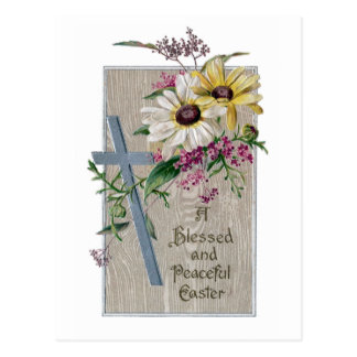 Silver Cross and Daisies Vintage Easter Postcard