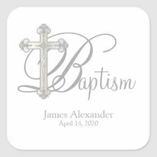 silver cross BAPTISM custom party favor label Square Sticker