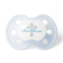 Silver Cross | Blue Baby Boy Baptism Monogram Pacifier