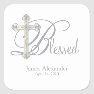 silver cross CHRISTENING custom party favor label