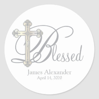 silver cross CHRISTENING custom party favor label Classic Round Sticker