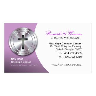 Silver Cross Christian Symbol Minister/Pastor Business Card