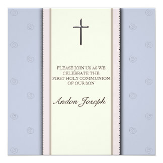 Silver Cross First Holy Communion  Invitation