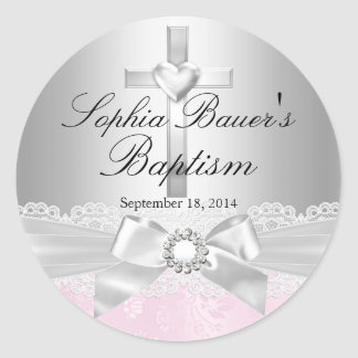Silver Cross & Lace Bow Baptism Sticker