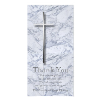 Silver Cross / Marble 1 - Sympathy Thank You Photo Card
