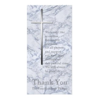 Silver Cross / Marble 2 - Sympathy Thank You Photo Card