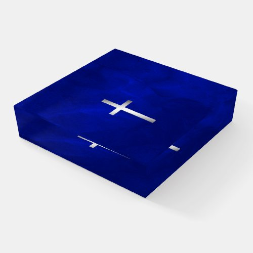 Silver Cross on Gradient Blue Paperweight