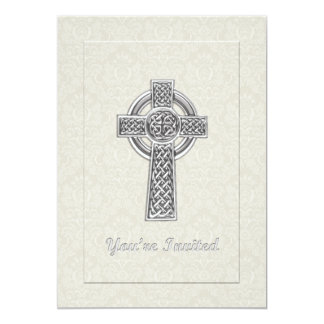 Silver Cross on Ivory Damask You're Invited Personalized Invitations