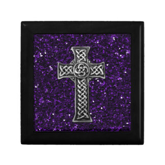 Silver Cross Purple Glitter Jewelry Box