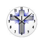 Silver Cross Round Wall Clock