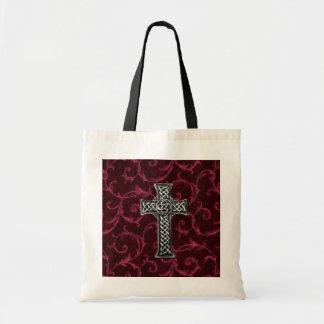 Silver Cross Velvet  satin Mouse Pad Tote Bag
