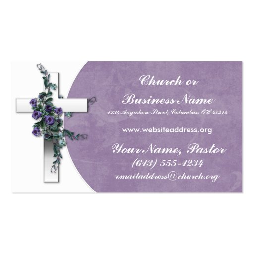 Silver Cross wFlower Church Minister Business Card