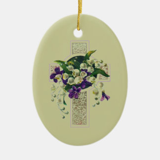 Silver Cross With Purple Flowers Ceramic Oval Decoration