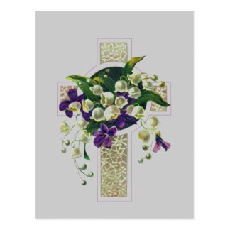 Silver Cross With Purple  Flowers Post Card