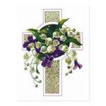 Silver Cross With Purple Flowers Postcard